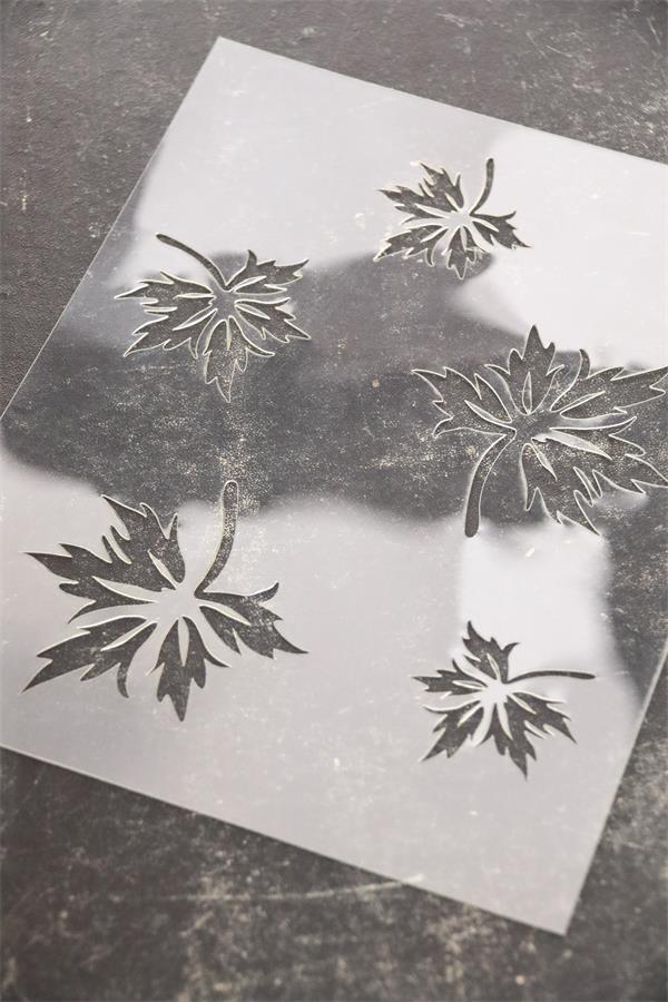stencil foglie vintage paint