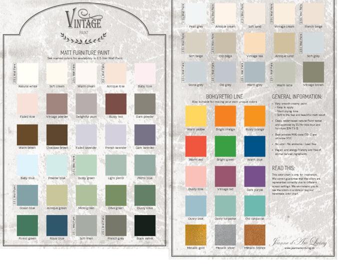 Tabella colori per pareti perfect cartella colore vintage chalk paint autentico look gesso with - Tabella colori per pareti interne ...