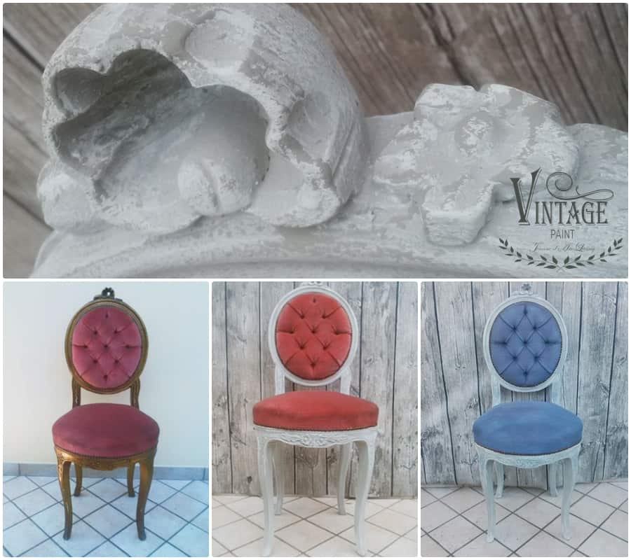 Ricolorare una sedia in velluto con chalk paint vintage paint for Sedie rivestite di stoffa