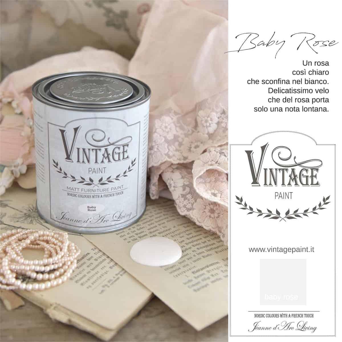 baby rose rosa vintage chalk paint vernici shabby chic autentico look gesso