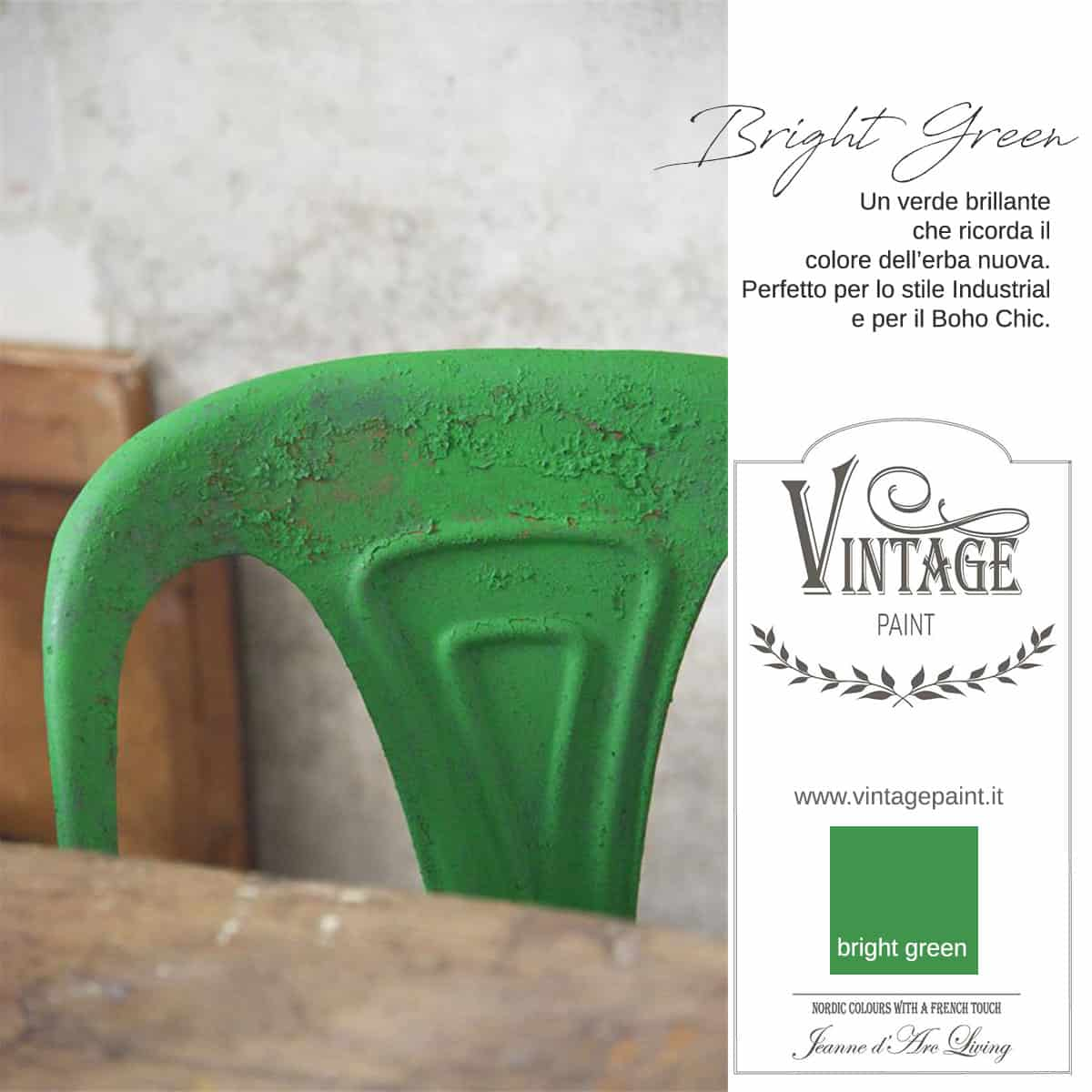bright green verde vintage chalk paint vernici shabby chic autentico look gesso