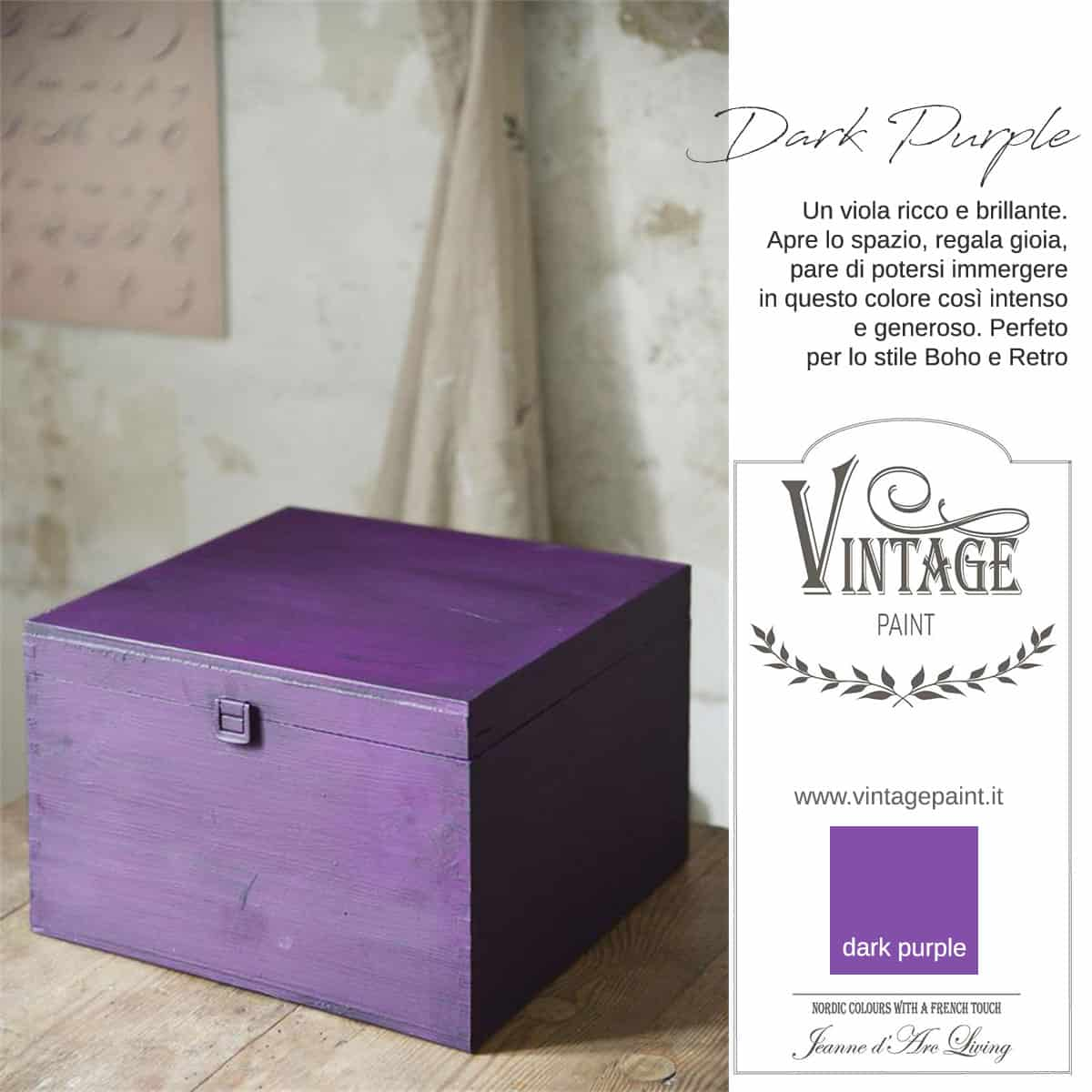 dark purple viola vintage chalk paint vernici shabby chic autentico look gesso