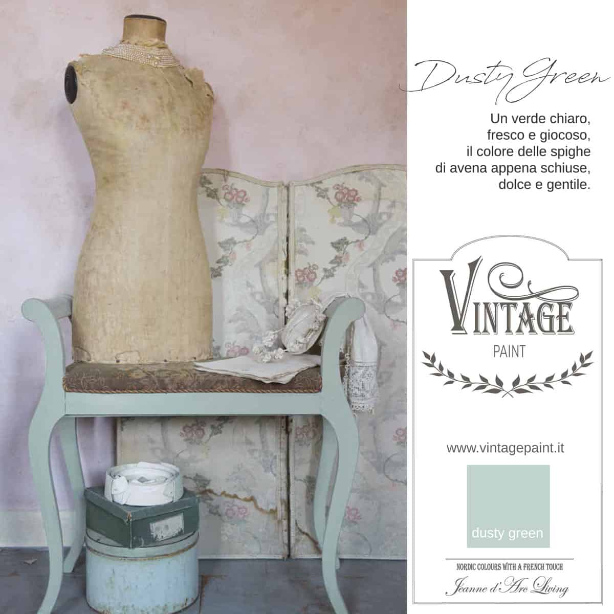 dusty green verde vintage chalk paint vernici shabby chic autentico look gesso
