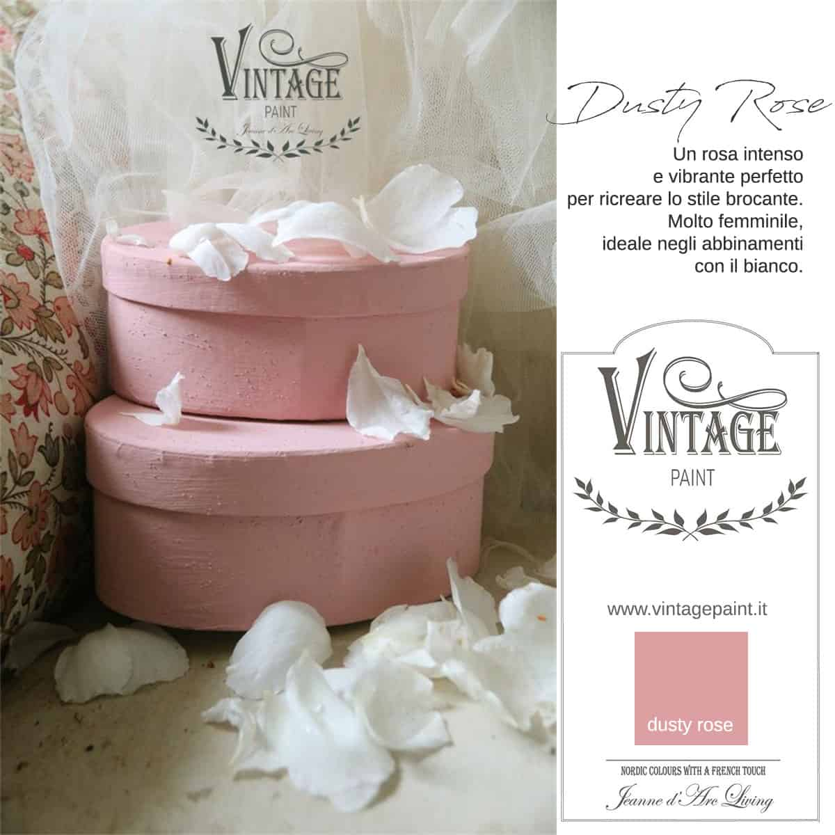 dusty rose rosa vintage chalk paint vernici shabby chic autentico look gesso