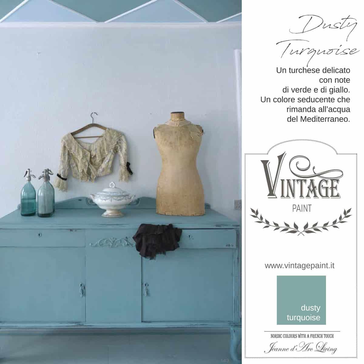 dusty turquoise turchese blu azzurro vintage chalk paint vernici shabby chic autentico look gesso