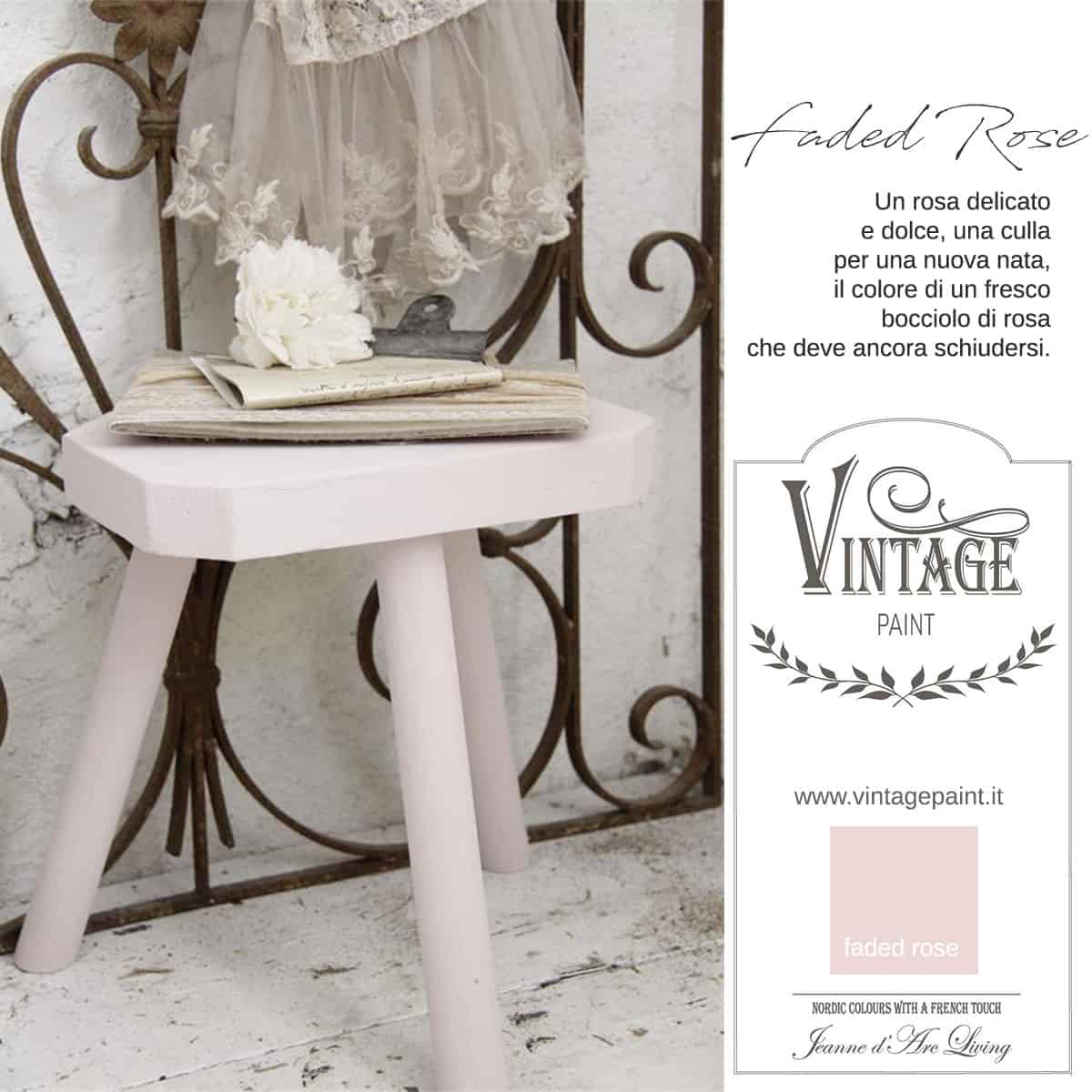faded rose rosa vintage chalk paint vernici shabby chic autentico look gesso
