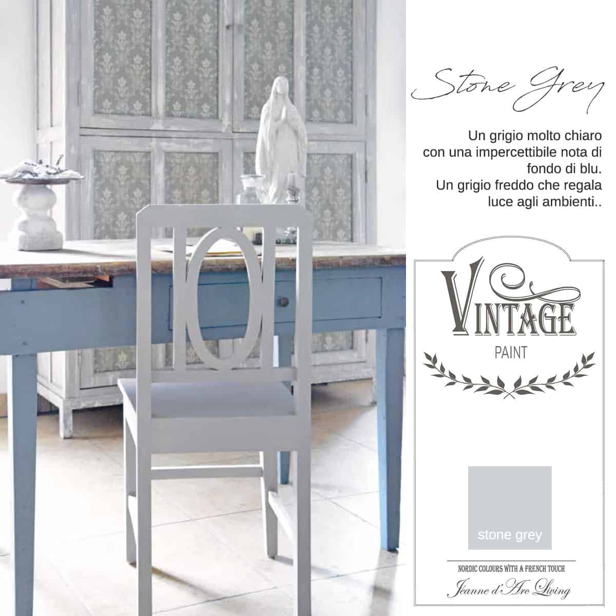stone grey grigio vintage chalk paint vernici shabby chic autentico look gesso
