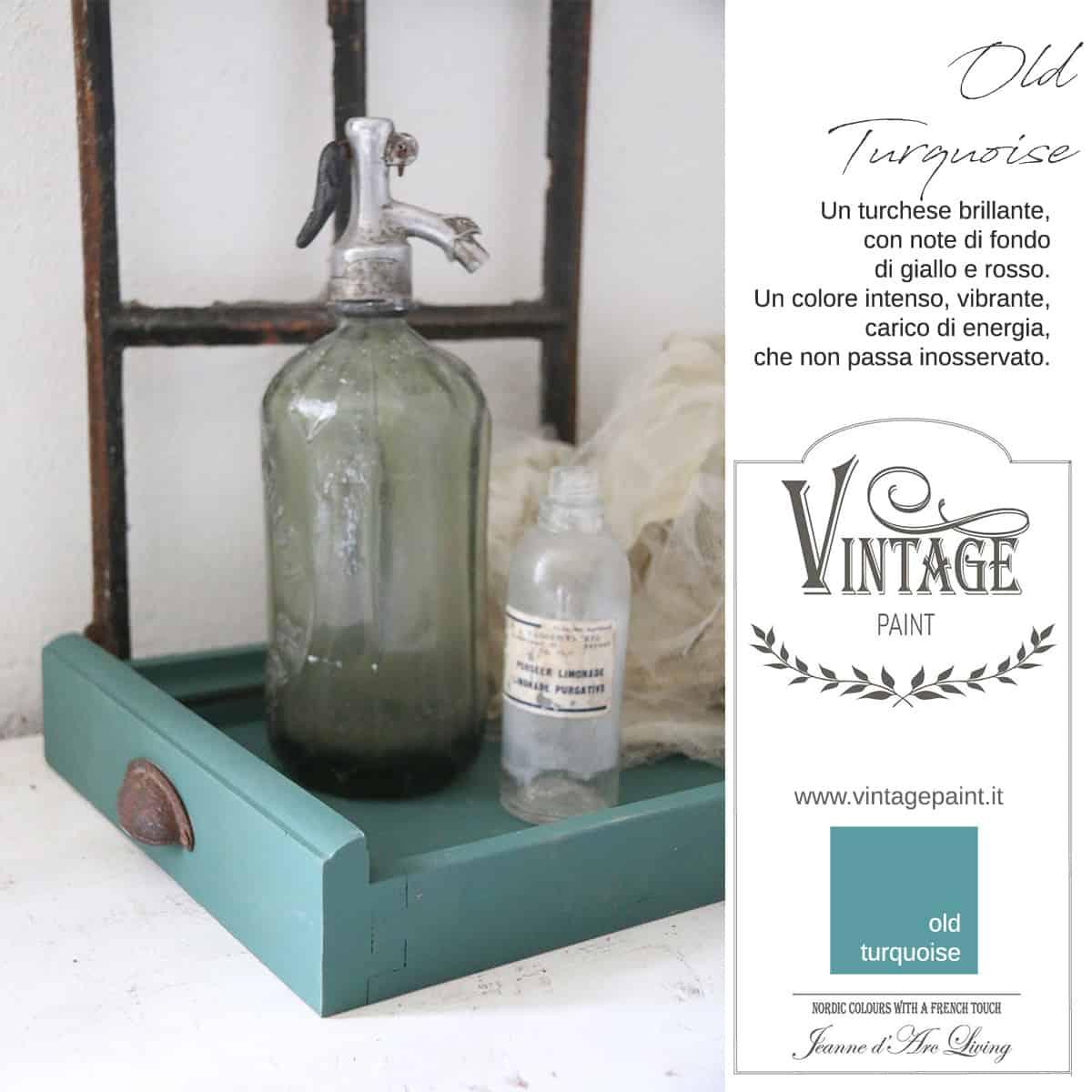 old turquoise turchese blu azzurro vintage chalk paint vernici shabby chic autentico look gesso