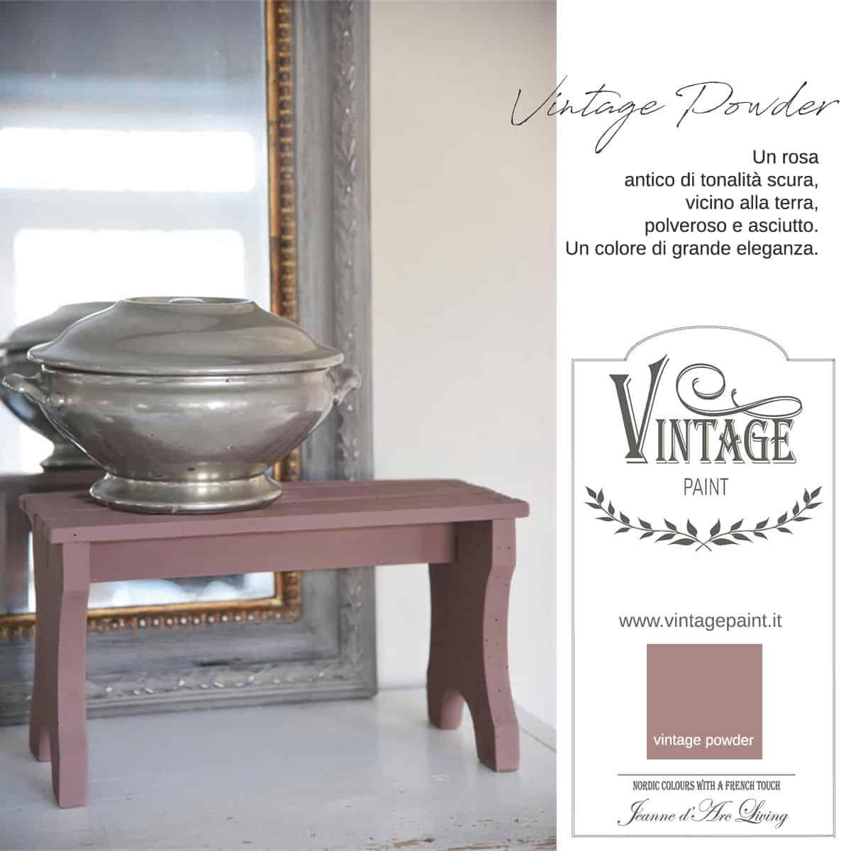 vintage powder rosso rosa vintage chalk paint vernici shabby chic autentico look gesso