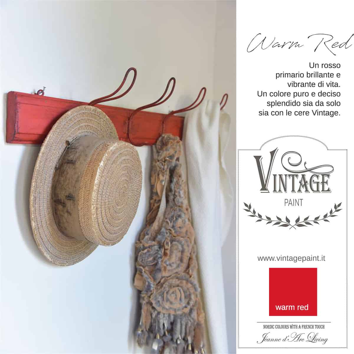 warm red rosso vintage chalk paint vernici shabby chic autentico look gesso