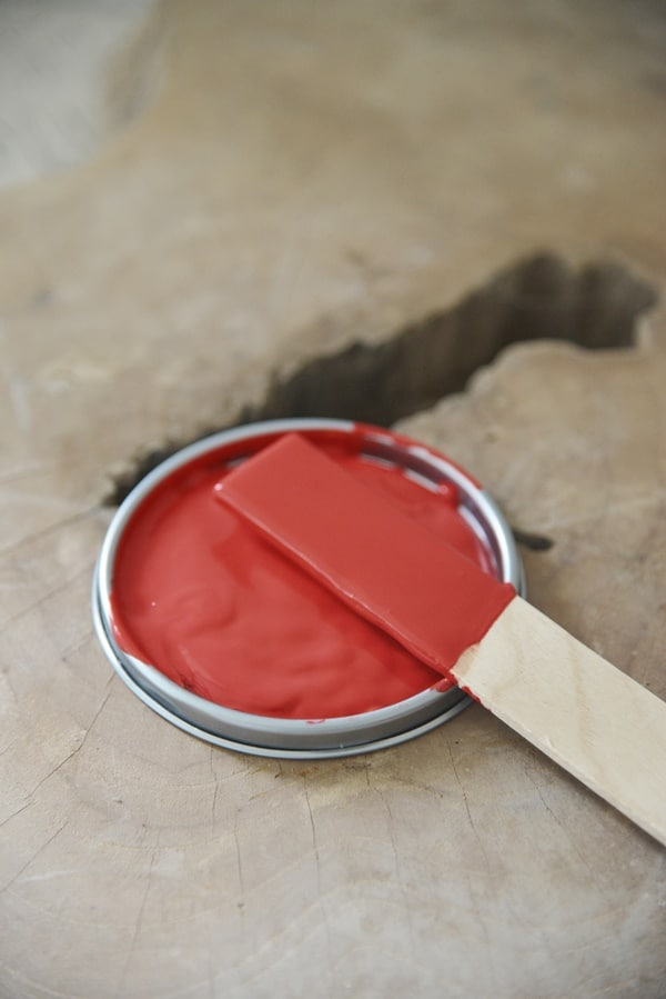 warm red Vintage chalk Paint autentico look gesso