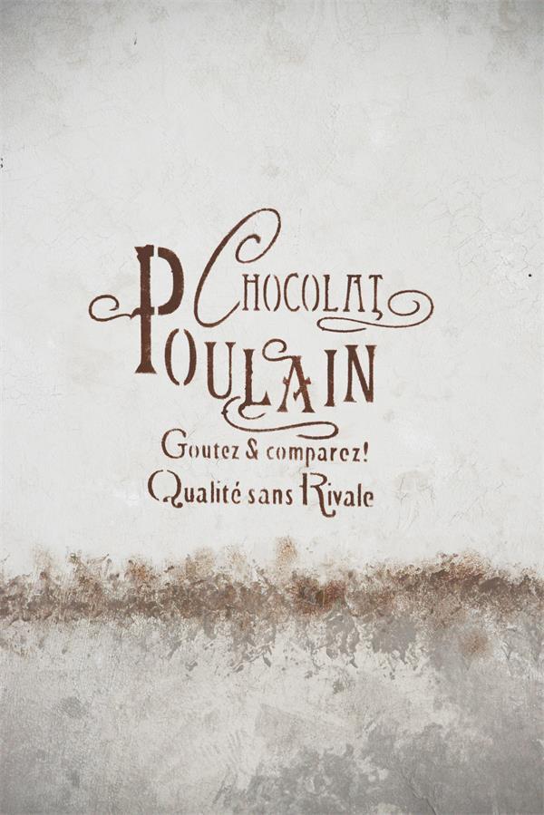 stencil scritta french chocolat poulain frasi