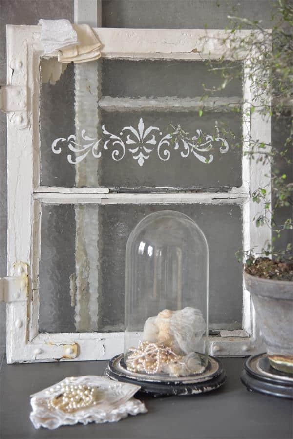 stencil tralcio vite vintage paint