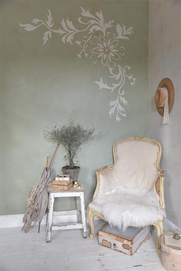 stencil floreale vintage paint