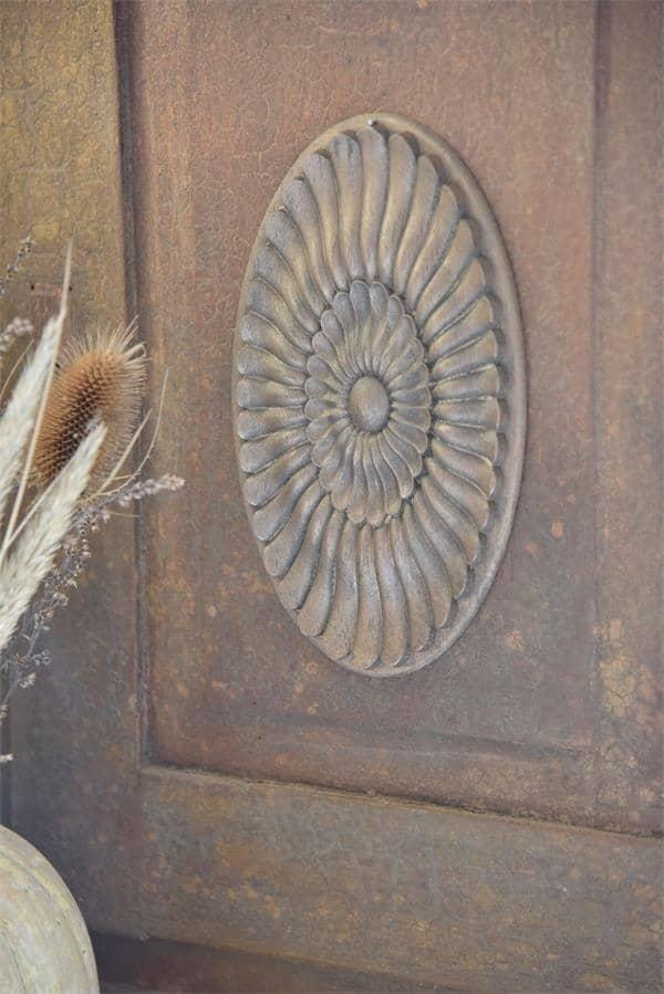 fregio decorativo puro legno rosone ovale applicazione
