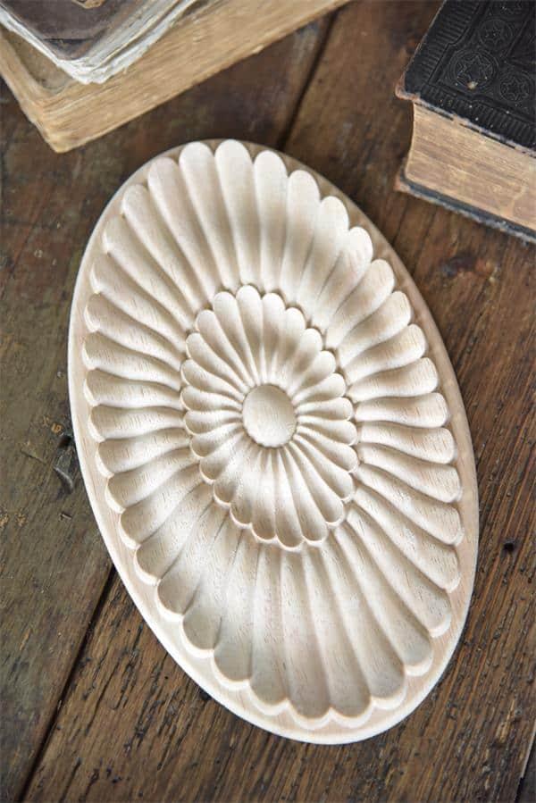 fregio decorativo puro legno rosone ovale