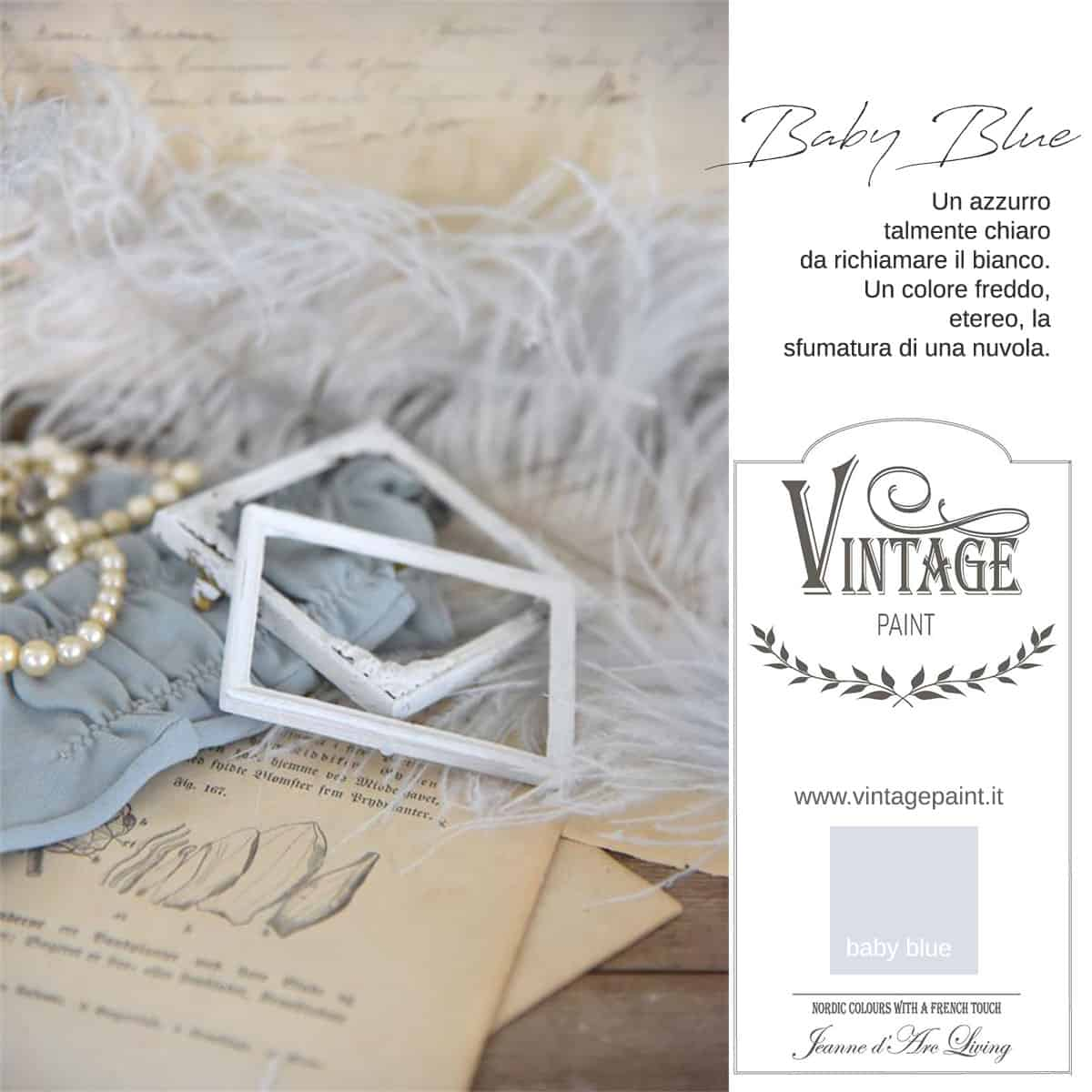 baby blue blu azzurro vintage chalk paint vernici shabby chic autentico look gesso