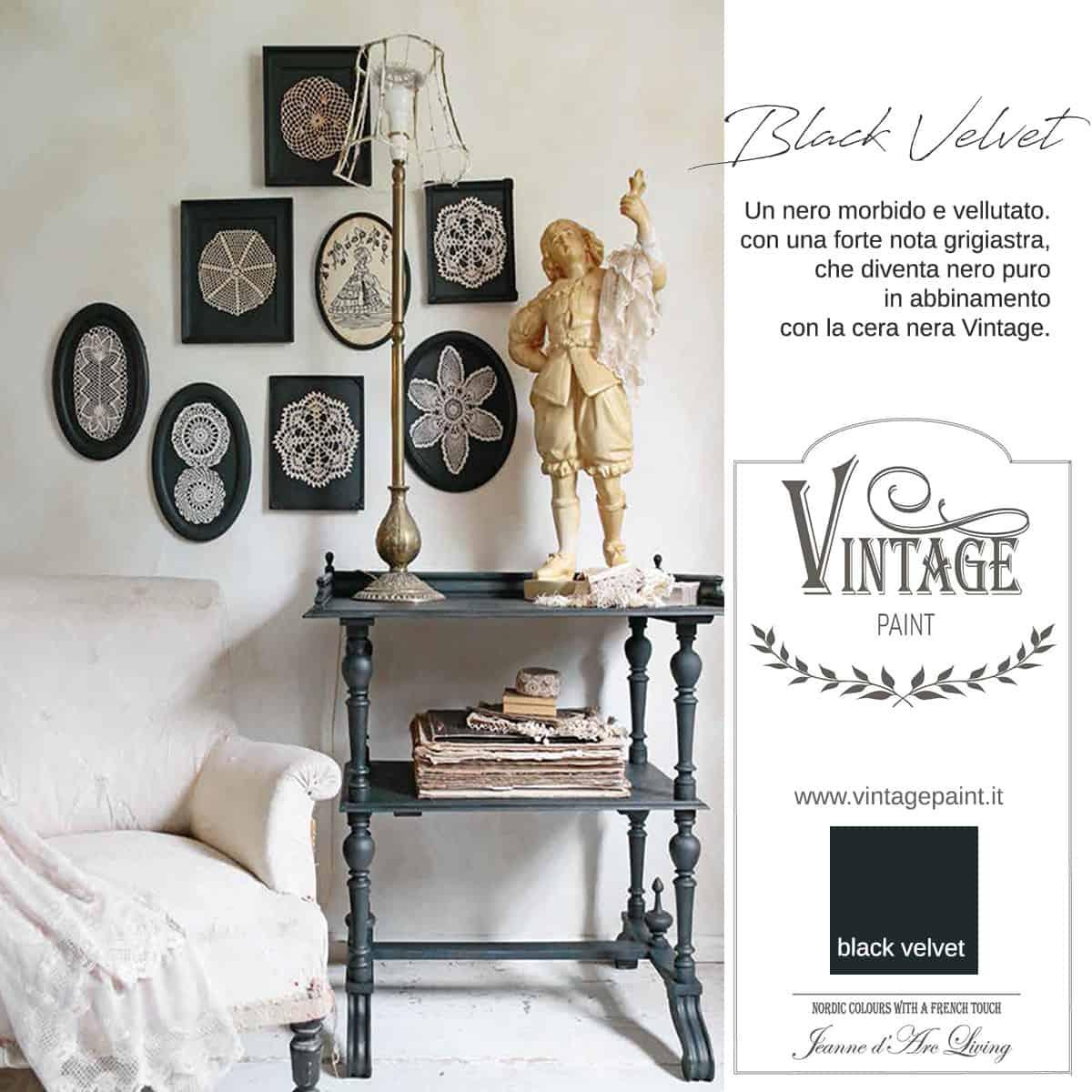 black velvet nero lavagna vintage chalk paint vernici shabby chic autentico look gesso