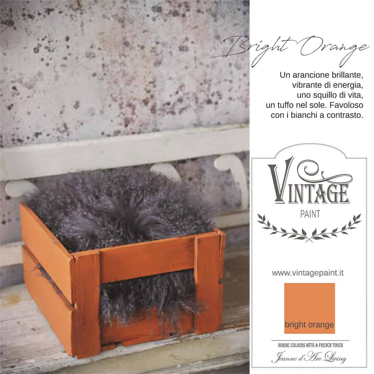 bright orange arancione vintage chalk paint vernici shabby chic autentico look gesso