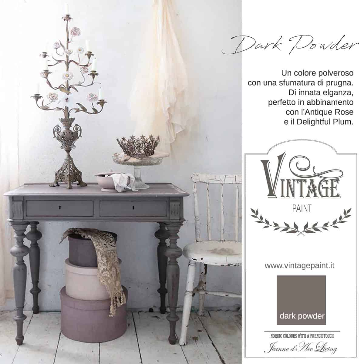 dark powder prugna viola vintage chalk paint vernici shabby chic autentico look gesso