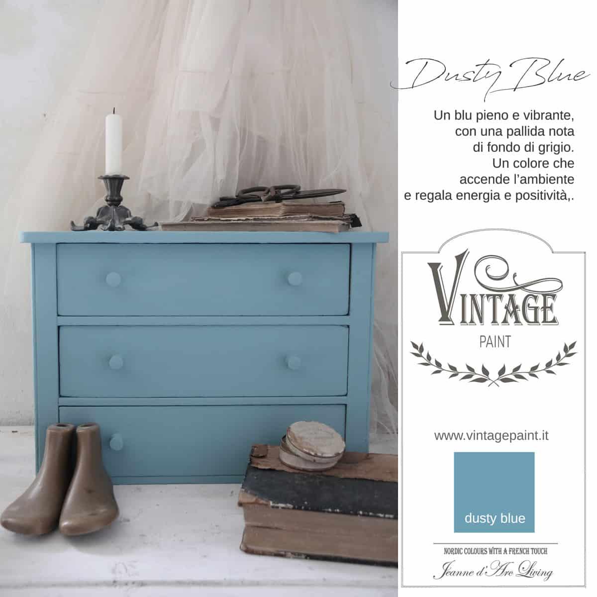 dusty blue blu azzurro vintage chalk paint vernici shabby chic autentico look gesso