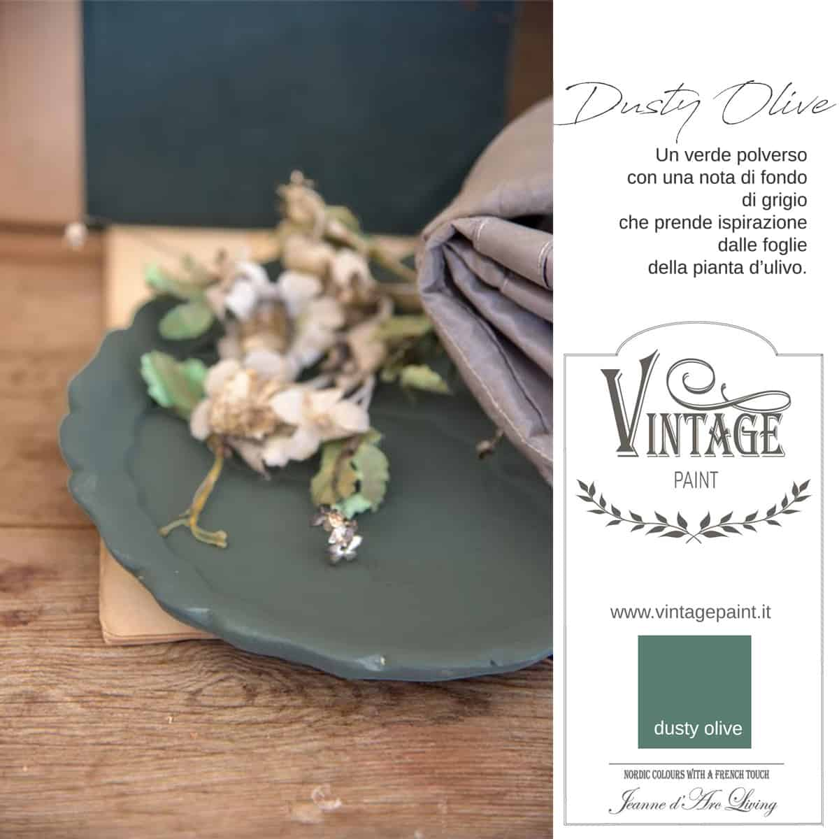 dusty olive verde vintage chalk paint vernici shabby chic autentico look gesso