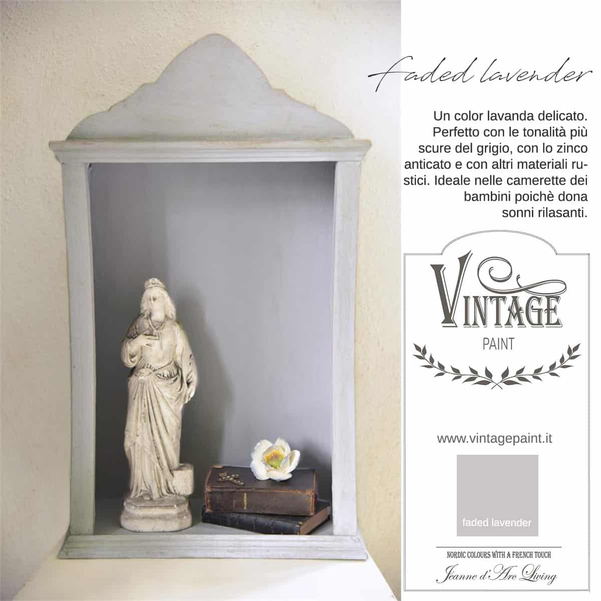 faded lavender lavanda viola vintage chalk paint vernici shabby chic autentico look gesso