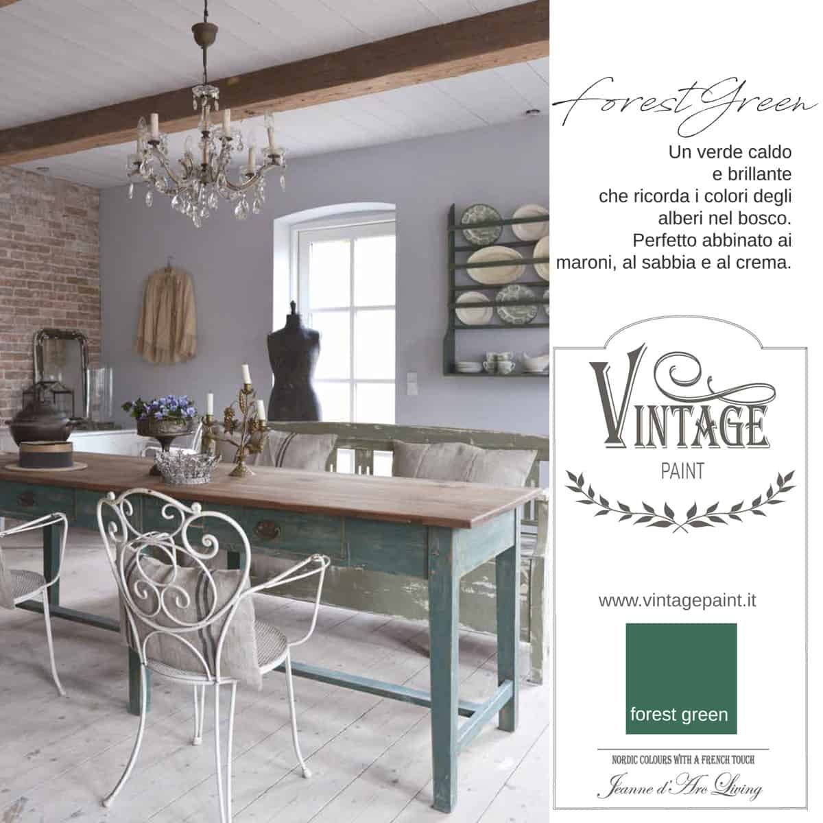 forest green verde vintage chalk paint vernici shabby chic autentico look gesso