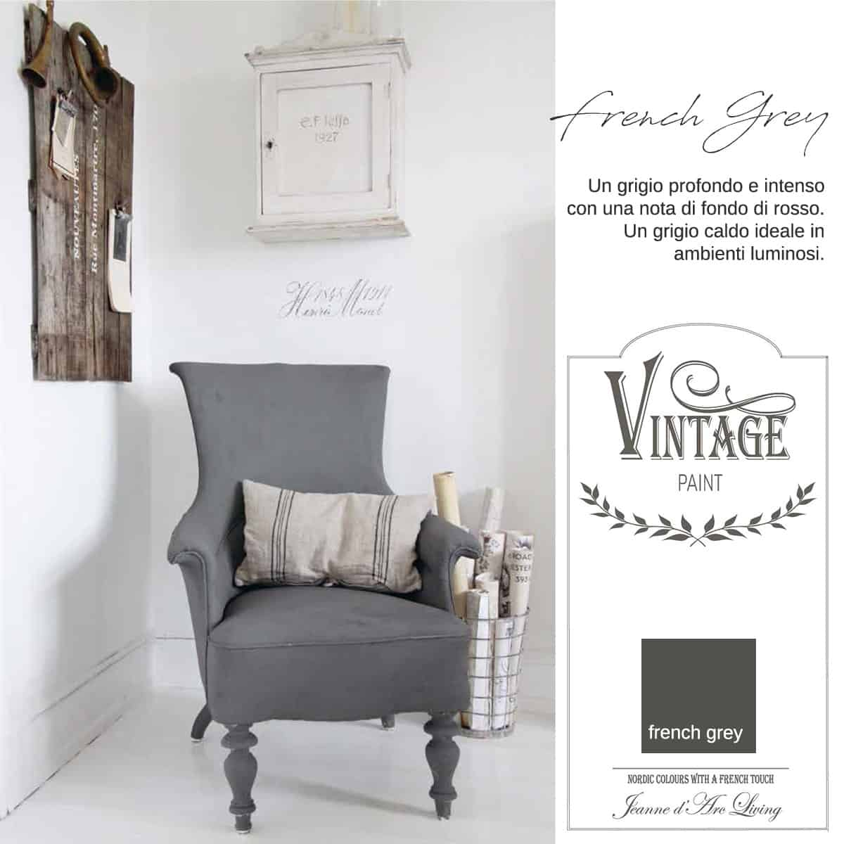 french grey grigio vintage chalk paint vernici shabby chic autentico look gesso