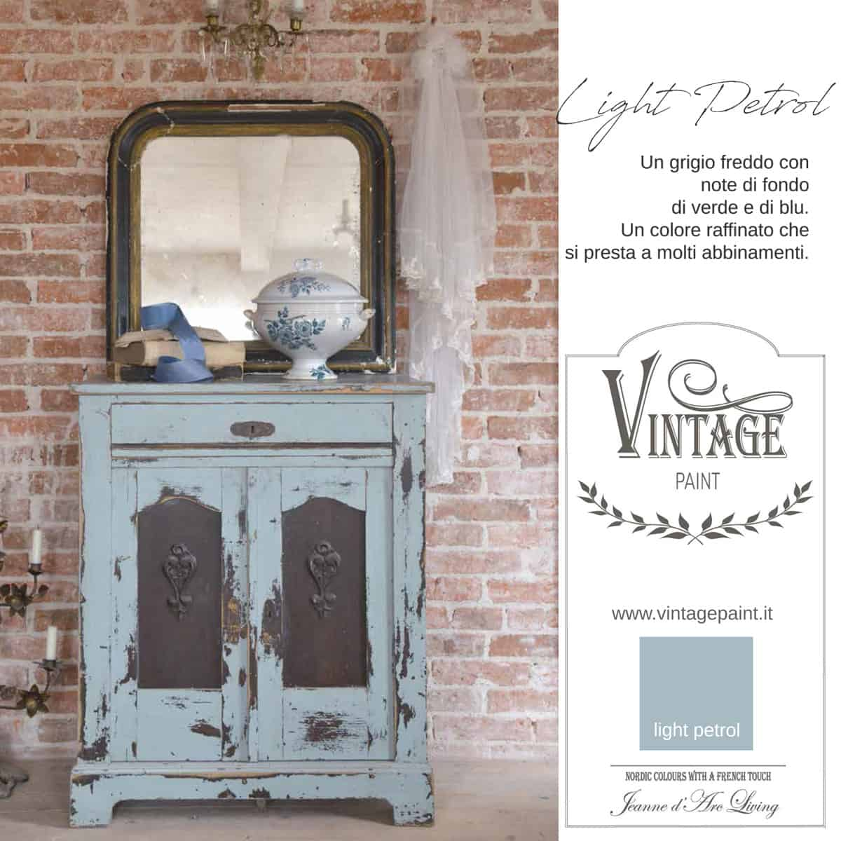 light petrol azzurro vintage chalk paint vernici shabby chic autentico look gesso