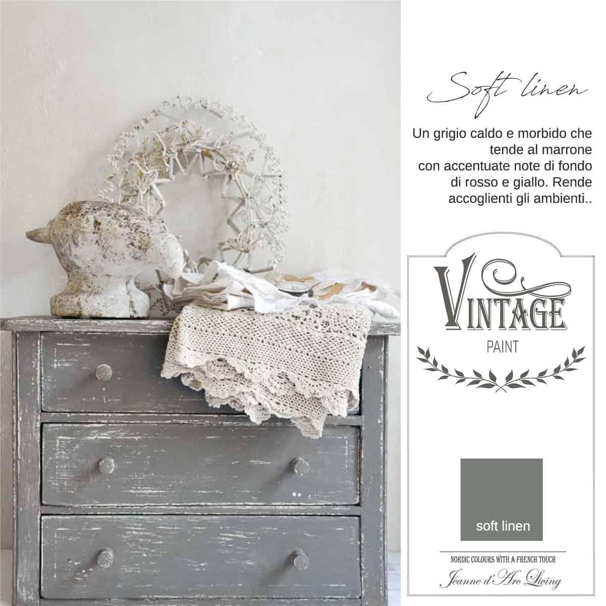 soft linen grigio vintage chalk paint vernici shabby chic autentico look gesso