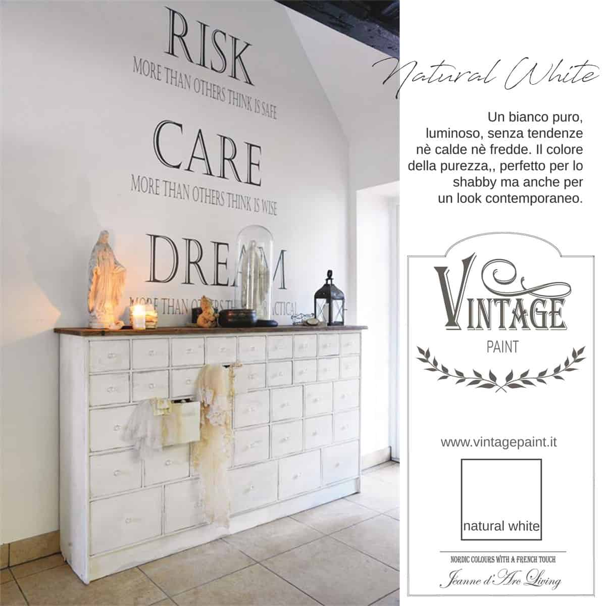 natural white bianco vintage chalk paint vernici shabby chic autentico look gesso