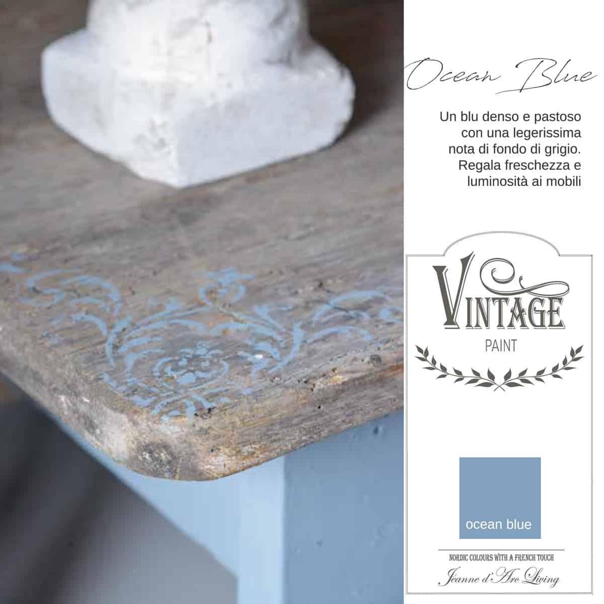 ocean blue blu azzurro vintage chalk paint vernici shabby chic autentico look gesso
