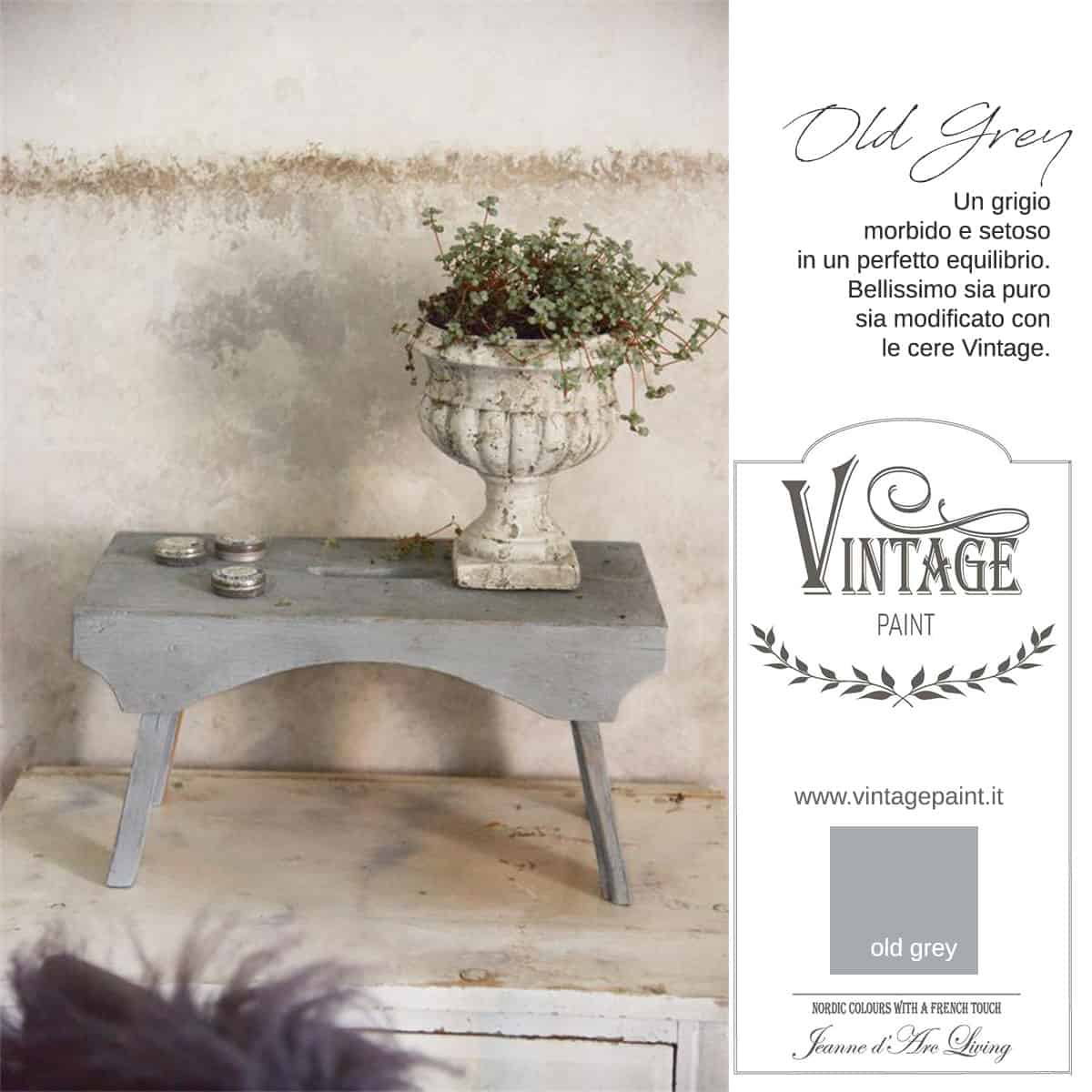 old grey grigio vintage chalk paint vernici shabby chic autentico look gesso