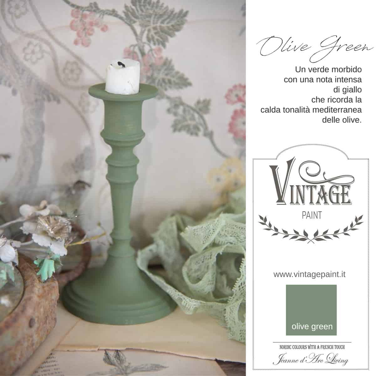 olive green verde vintage chalk paint vernici shabby chic autentico look gesso