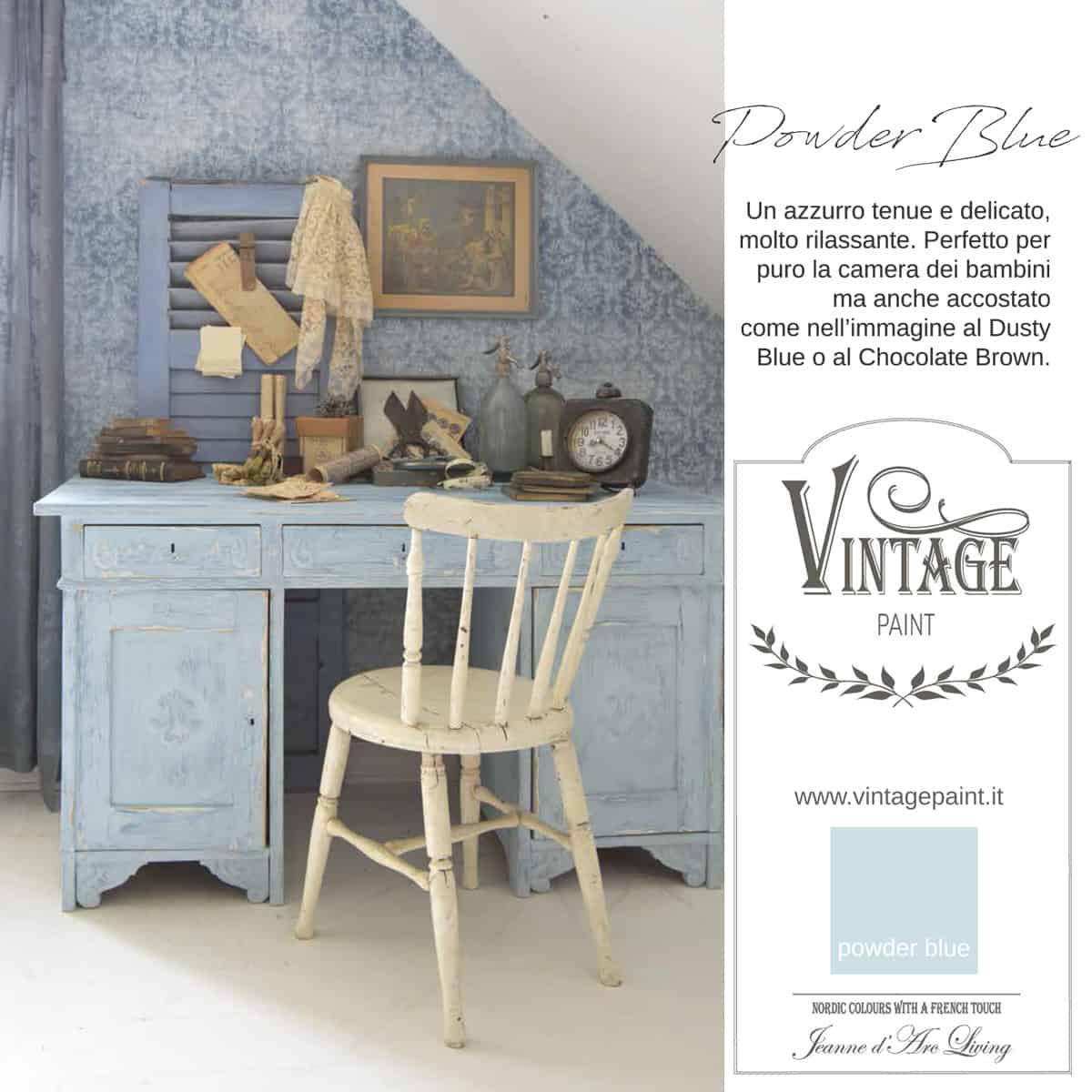 powder blue blu azzurro vintage chalk paint vernici shabby chic autentico look gesso