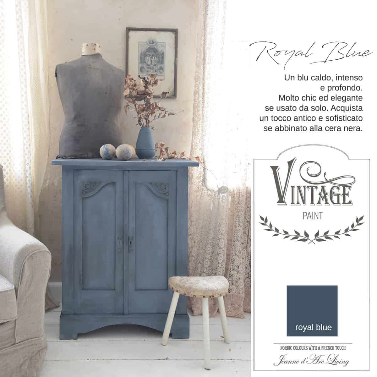 royal blue blu azzurro vintage chalk paint vernici shabby chic autentico look gesso