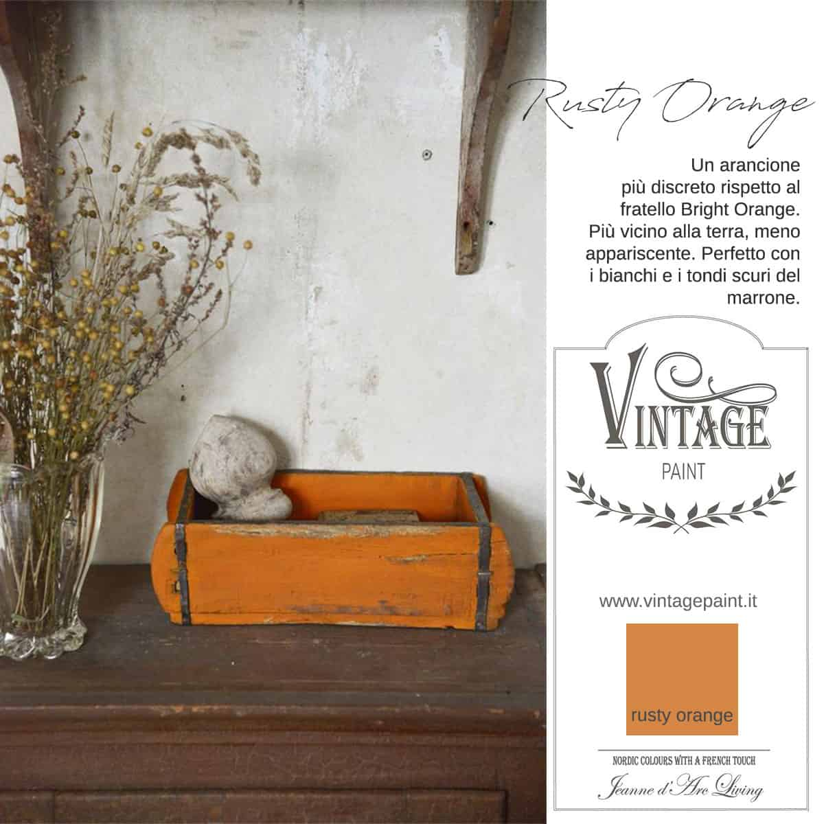 rusty orange arancione vintage chalk paint vernici shabby chic autentico look gesso