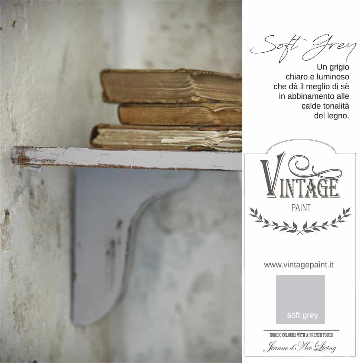 soft grey grigio vintage chalk paint vernici shabby chic autentico look gesso