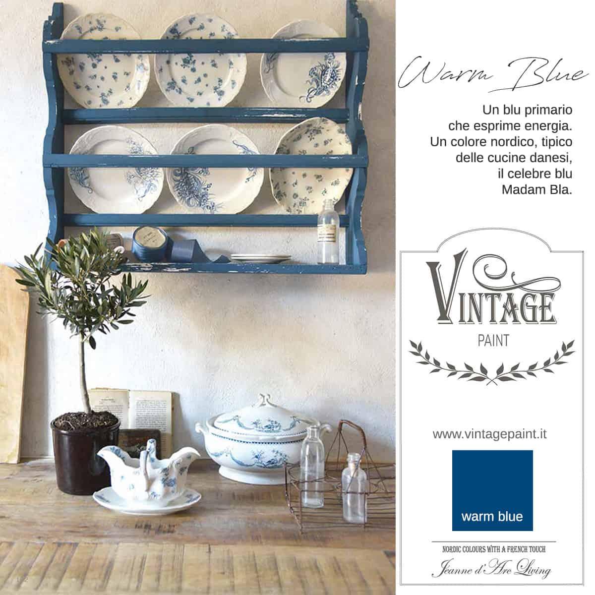 warm blue blu vintage chalk paint vernici shabby chic autentico look gesso