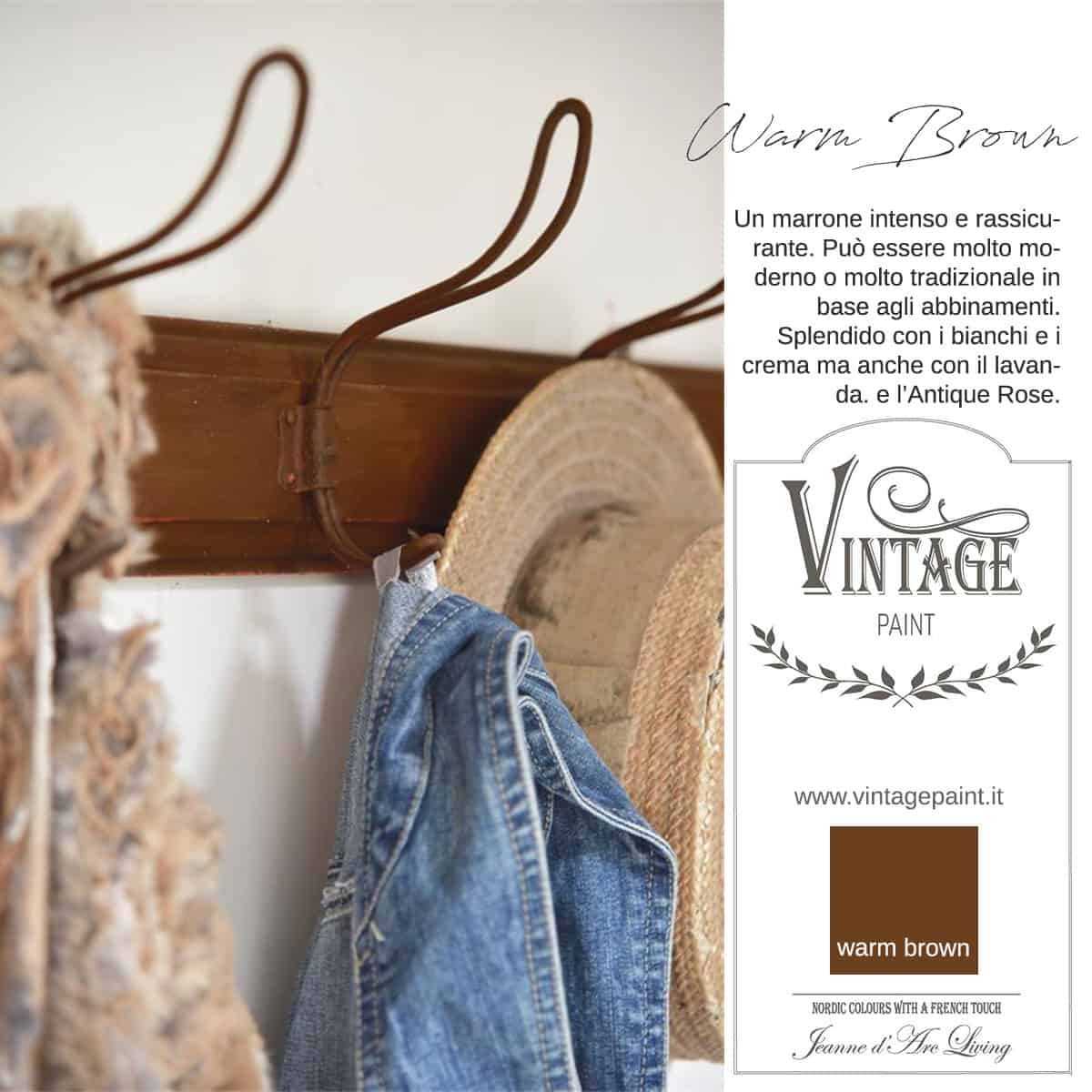 warm brown marrone vintage chalk paint vernici shabby chic autentico look gesso