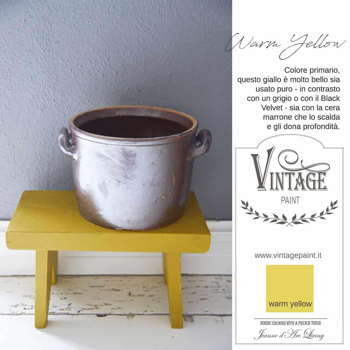 warm yellow giallo vintage chalk paint vernici shabby chic autentico look gesso