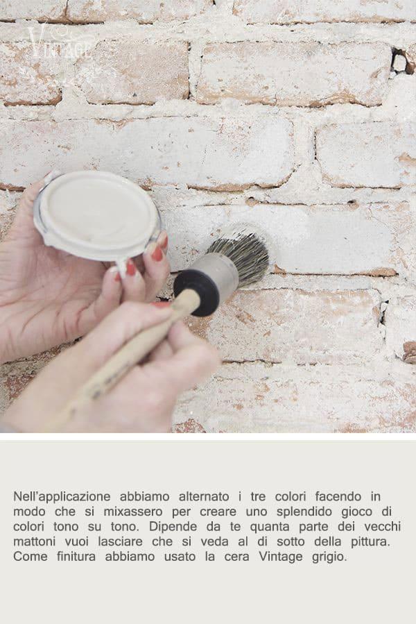 ricolorare una parete di mattoni con la vintage chalk paint