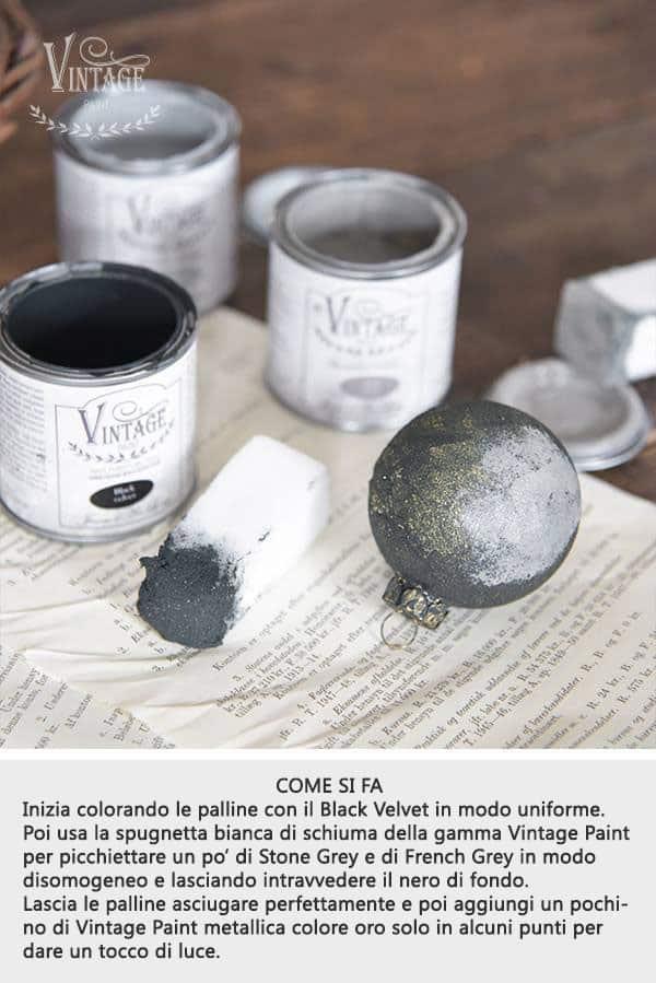 vintage chalk paint palline di natale