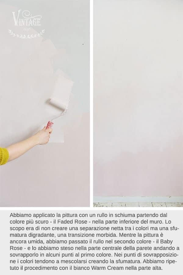 dipingere una parete con colore sfumato