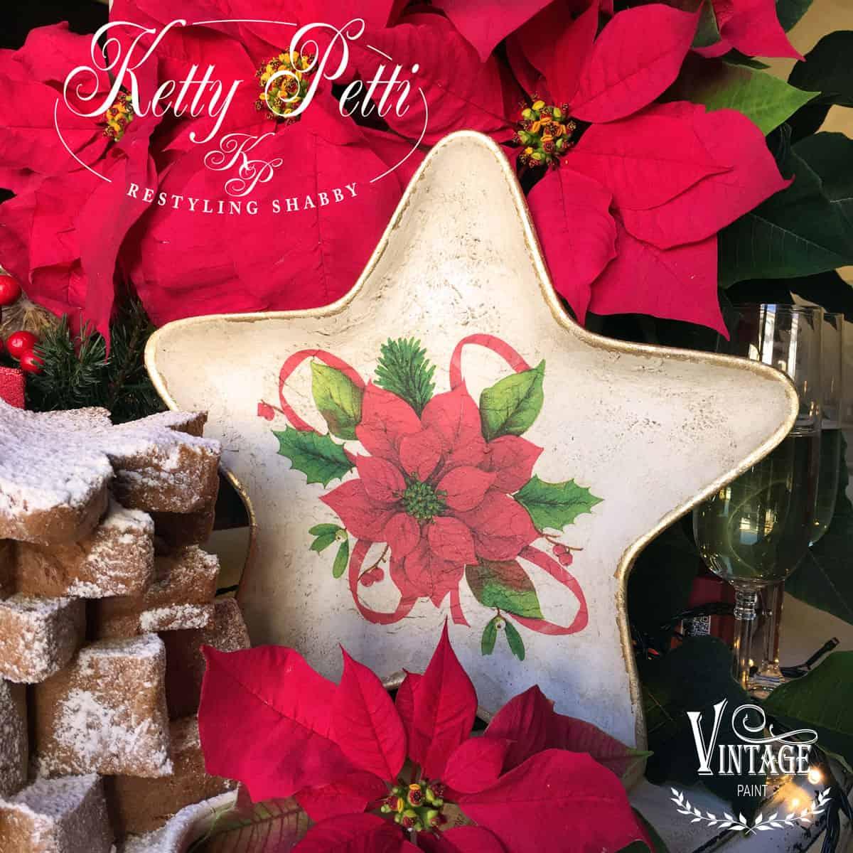 Piatto natalizio con decoupage e Vintage Paint – TUTORIAL