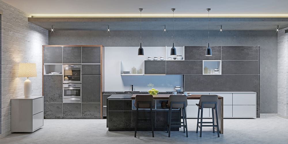 cucina moderna stile industriale cemento