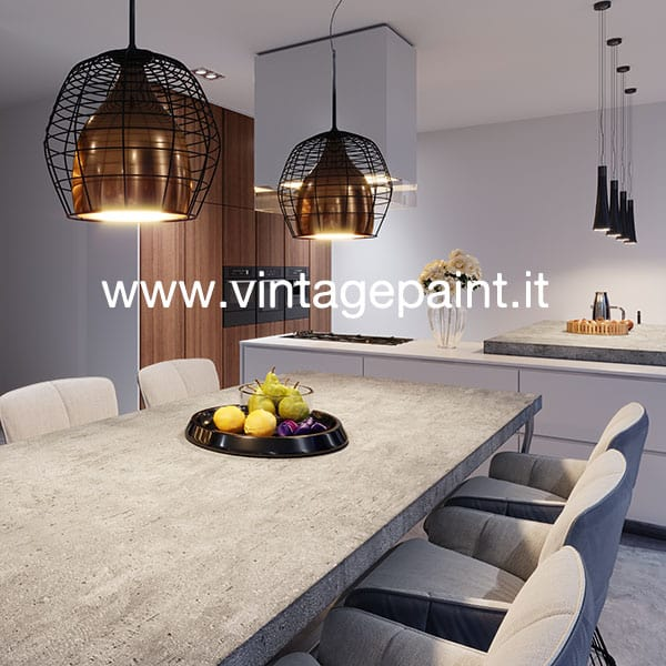 Effetto Cemento Decorativo Su Topo Di Tavolo E Cucina